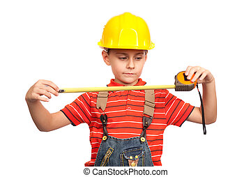Little construction worker with measuring tape
