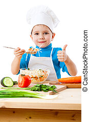 Little cooker with salad and thumb up sign