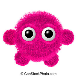 Little coral furry monster with arms and legs. Fluffy character with big eyes.