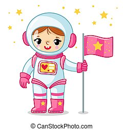 Little cosmonaut girl in a spacesuit holds a flag in her hand.
