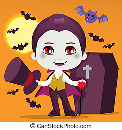 Little Count Dracula - Cute little boy with Count Dracula...