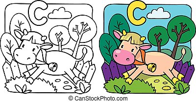 Little cow or calf coloring book. Alphabet C