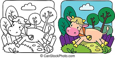 Little cow or calf coloring book