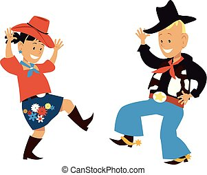 Two cute cartoon kids dancing western country style, EPS 8 vector illustration