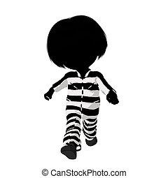 Little Criminal Girl Illustration - Little criminal girl on...