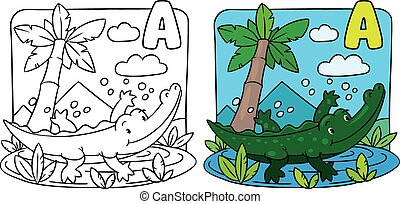 Little crocodile coloring book. Alphabet A