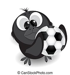 Little crow with a soccer ball cartoon vector illustration.