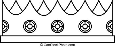 Little crown icon, outline style