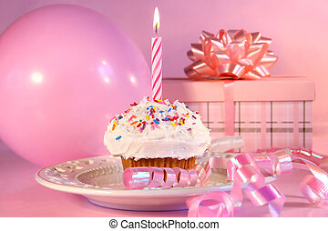Little cupcake with sprinkles - Little cupcake with candle,...