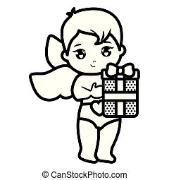 little cupid baby with gift