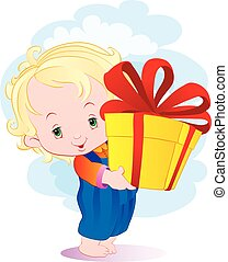 little curly boy with golden hair holds a big box with a gift in his hands, vector illustration, eps