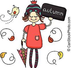 Little cute autumn girl