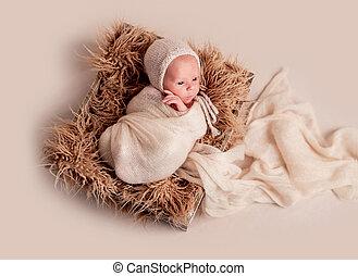 Little cute baby lying