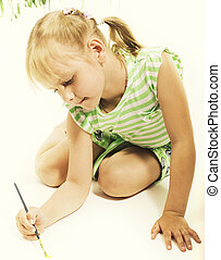 little cute blond girl painting isolated on white background