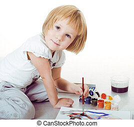 little cute blond girl painting isolated on white background, li