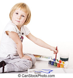 little cute blond girl painting isolated on white background, lifestyle education people concept