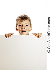 little cute boy holding empty shit to copyspace isolated close