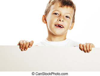 little cute boy holding empty shit to copyspace isolated close u