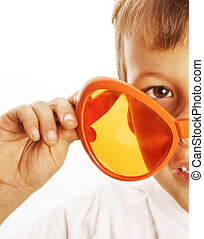 little cute boy in orange sunglasses isolated close up