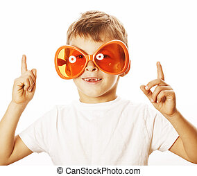 little cute boy in orange sunglasses pointing isolated close up