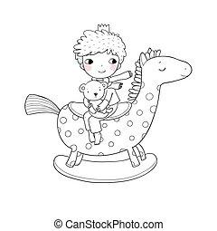 Little cute cartoon boy sitting on a rocking horse. Kid and teddy bear