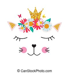 Little cute cat princess with crown and flowers  for card and shirt design. Vector Illustration