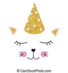 Little cute cat with party festive cap for card and shirt design. Vector Illustration