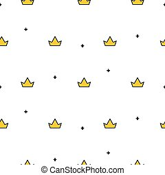 Little cute crowns seamless vector pattern.