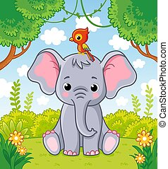 Little cute elephant sits in a clearing in the jungle with a parrot on his head.