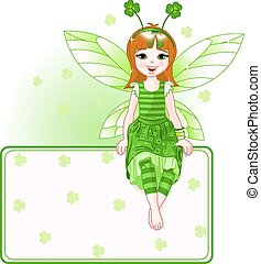Little cute fairy place card for St