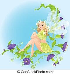 Little cute forest fairy sitting on beautiful wild flowers