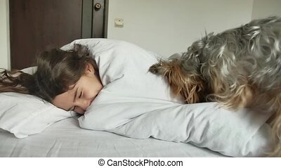Little cute girl and dog sleeping in bed. little girl teen...