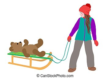 Little cute girl carries a teddy bear on sled in winter. Active leisure outdoors in winter. Cartoon vector illustration isolated on a white background.