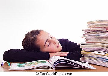 little cute girl do homeworks