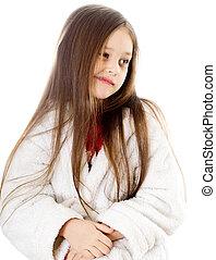 little cute girl grimacing - little cute girl with long hair...