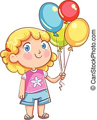 Little cute girl holding colorful balloons
