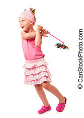 Little cute girl holding windmill isolated on white background.