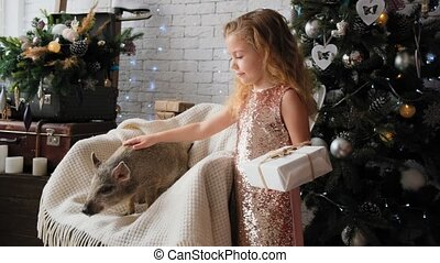 Little cute girl stands with a gift and strokes the symbol of the new year - pig in slow motion