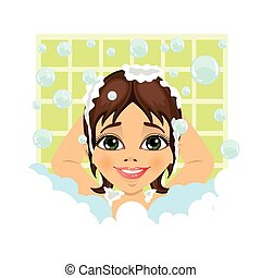 little cute girl washing her hair with soap foam and bubbles in bathroom