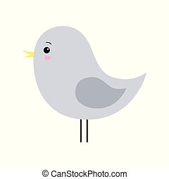 Little cute gray spring bird design. Cartoon character.