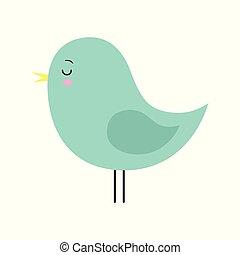 Little cute green spring bird design. Cartoon character.