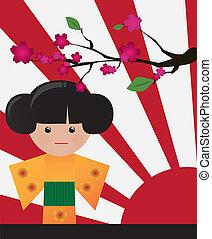 Little cute Japanese geisha, vector