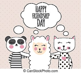 Little cute llama, panda and cat. Best Friend Concept. Happy friendship day. Vector Illustration