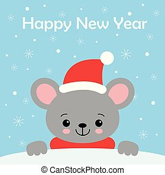 Little Cute Mouse in a red Santa s cap and scarf.