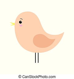 Little cute orange spring bird design. Cartoon character.