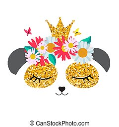 Little cute panda princess with crown and flowers  for card and shirt design. Vector Illustration