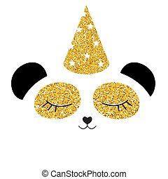 Little cute panda with party festive cap for card and shirt design. Vector Illustration