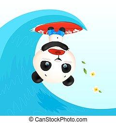 Little cute panic surfer panda in wave tube, vector ...