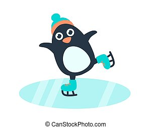 Little cute penguin in skates - Little cute penguin in hat...