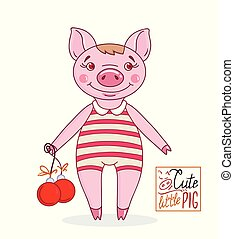 Little cute pig in cartoon style in a striped bathing suit with Christmas balls. Hand drawn style vector design illustration